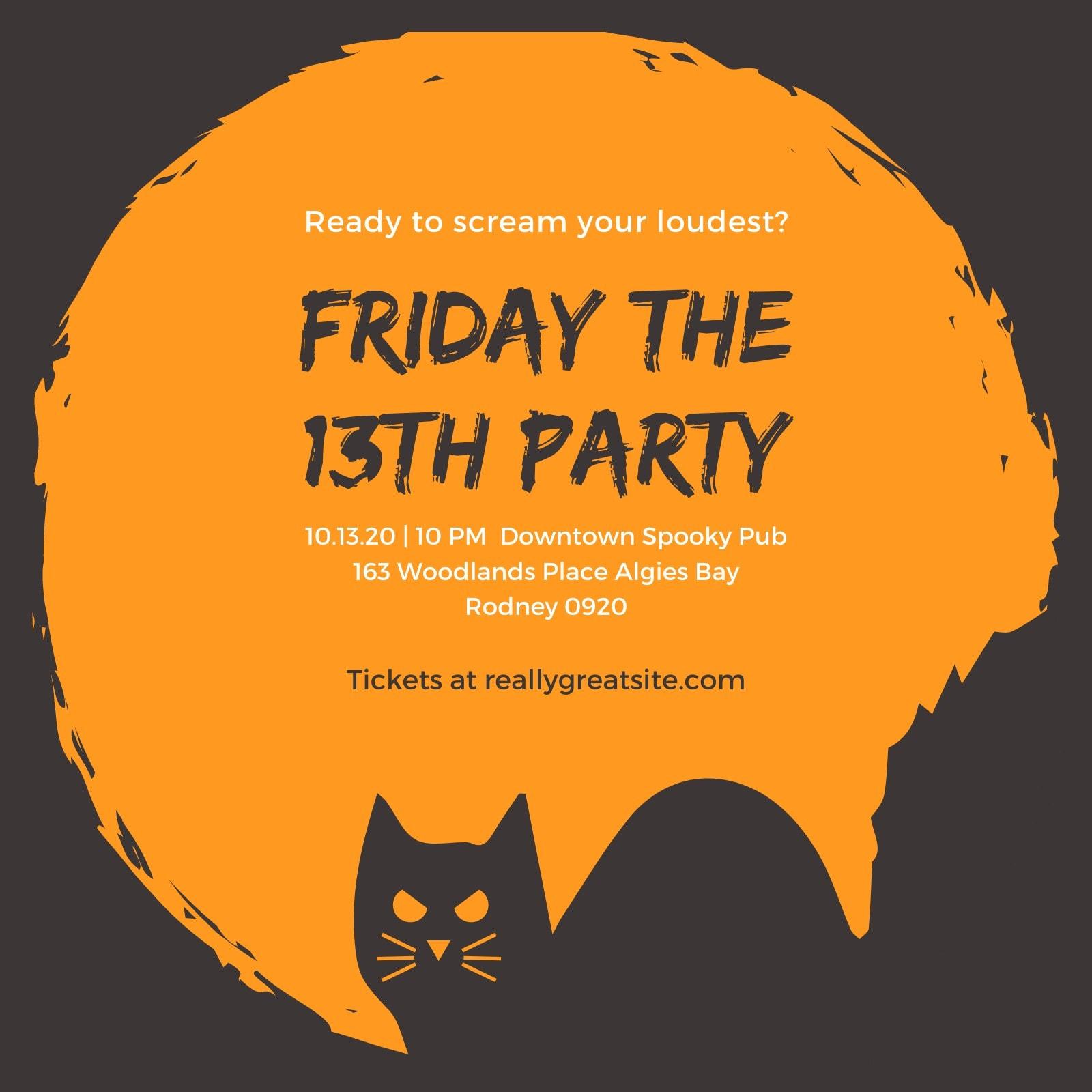 Orange Black Cat Halloween Party Invitation