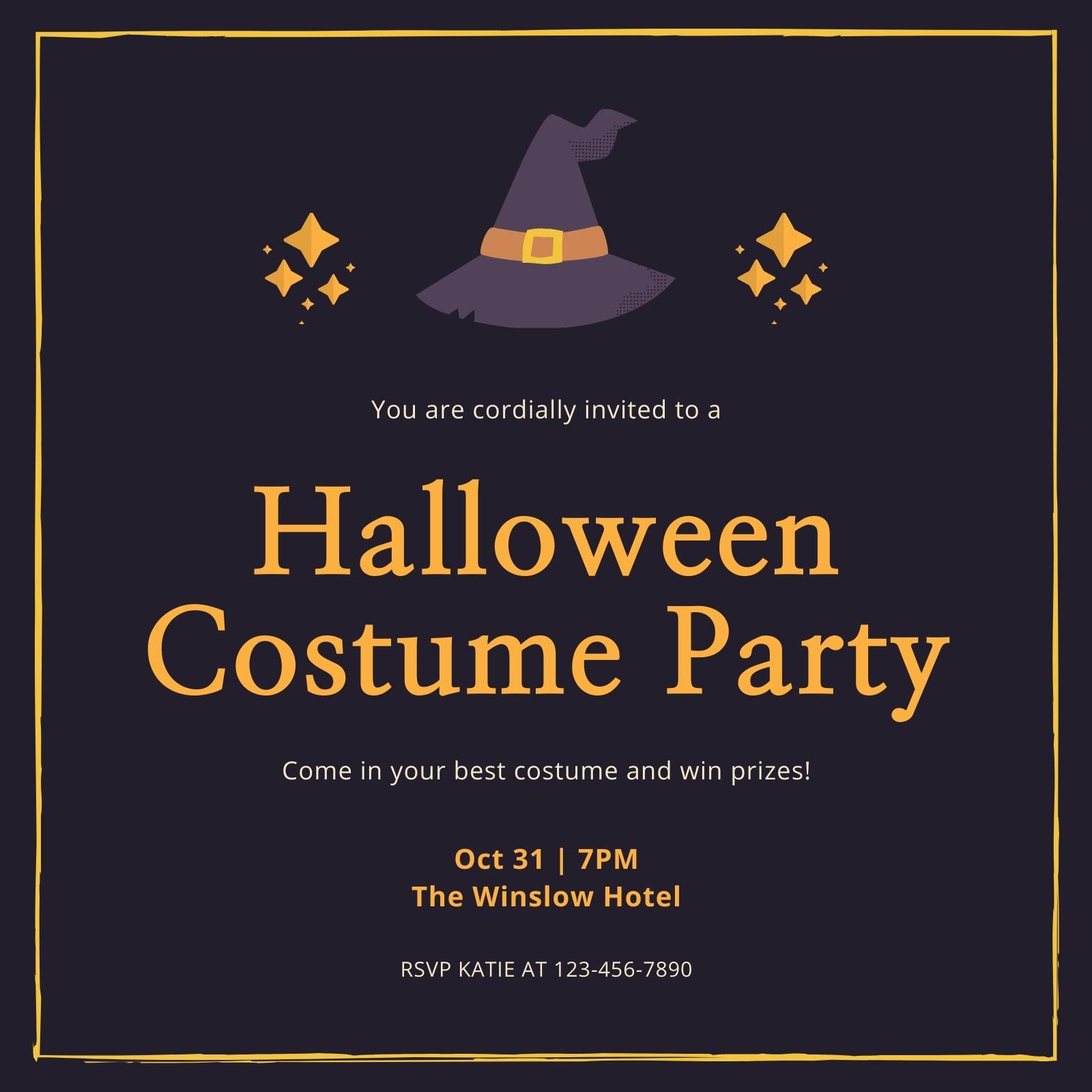 Purple and Orange Bordered Halloween Costume Party Invitation