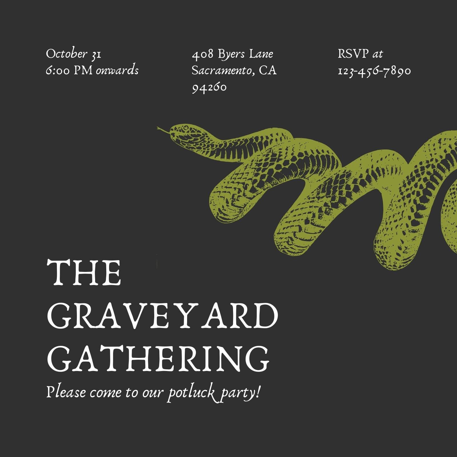 Green and Black Snake Edgy Monochrome Halloween Grownup Party Invitation
