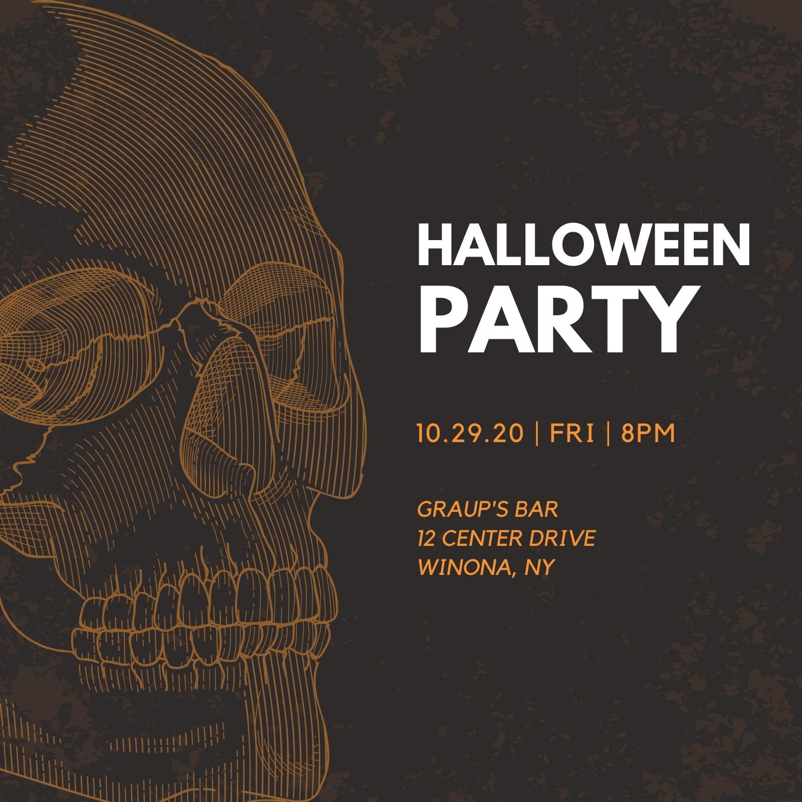 Orange and Black Illustrated Skull Halloween Party Invitation