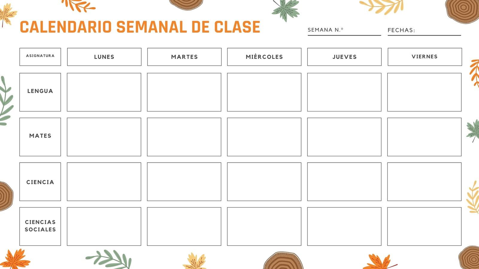 Amarillo Marrón Campamento En Blanco Versión Imprimible Clases Calendario Semanal