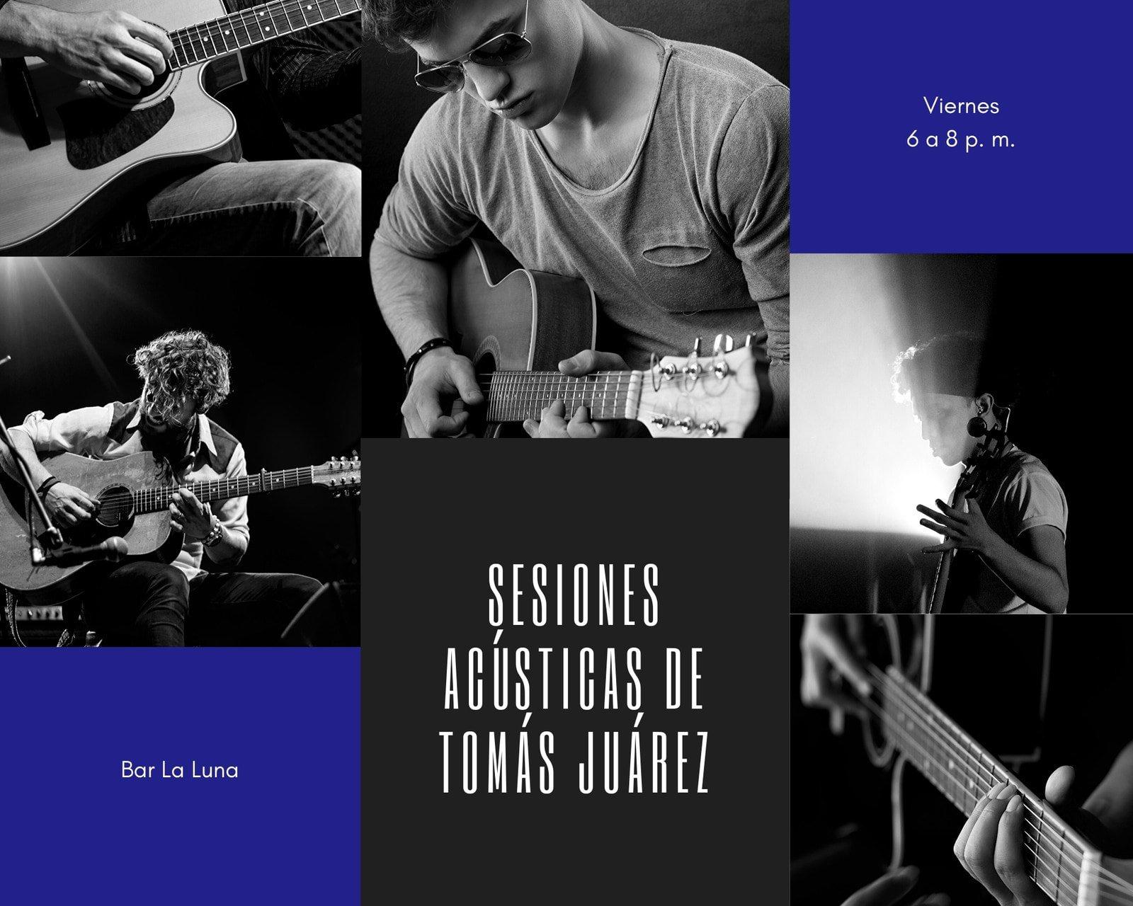Rojo y Azul Acústica Música Foto Collage