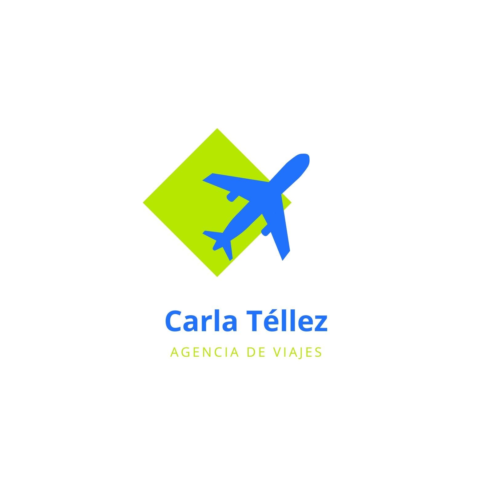 Verde y Azul Avión Viaje Logotipo