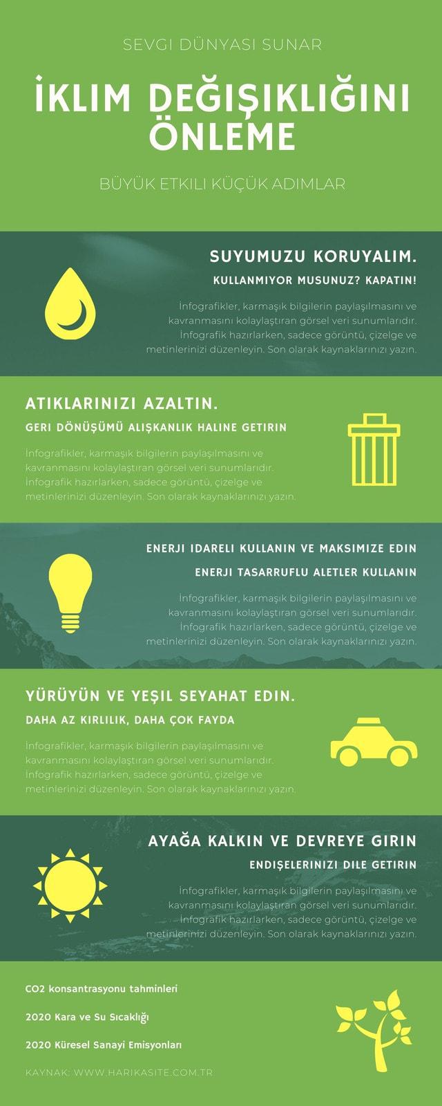 Yeşil İklim Değişikliği İnfografik