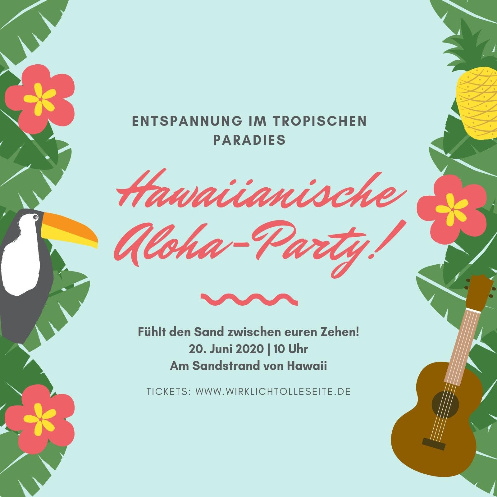 Bunt Palmenblätter Tropisch Hawaii Einladung
