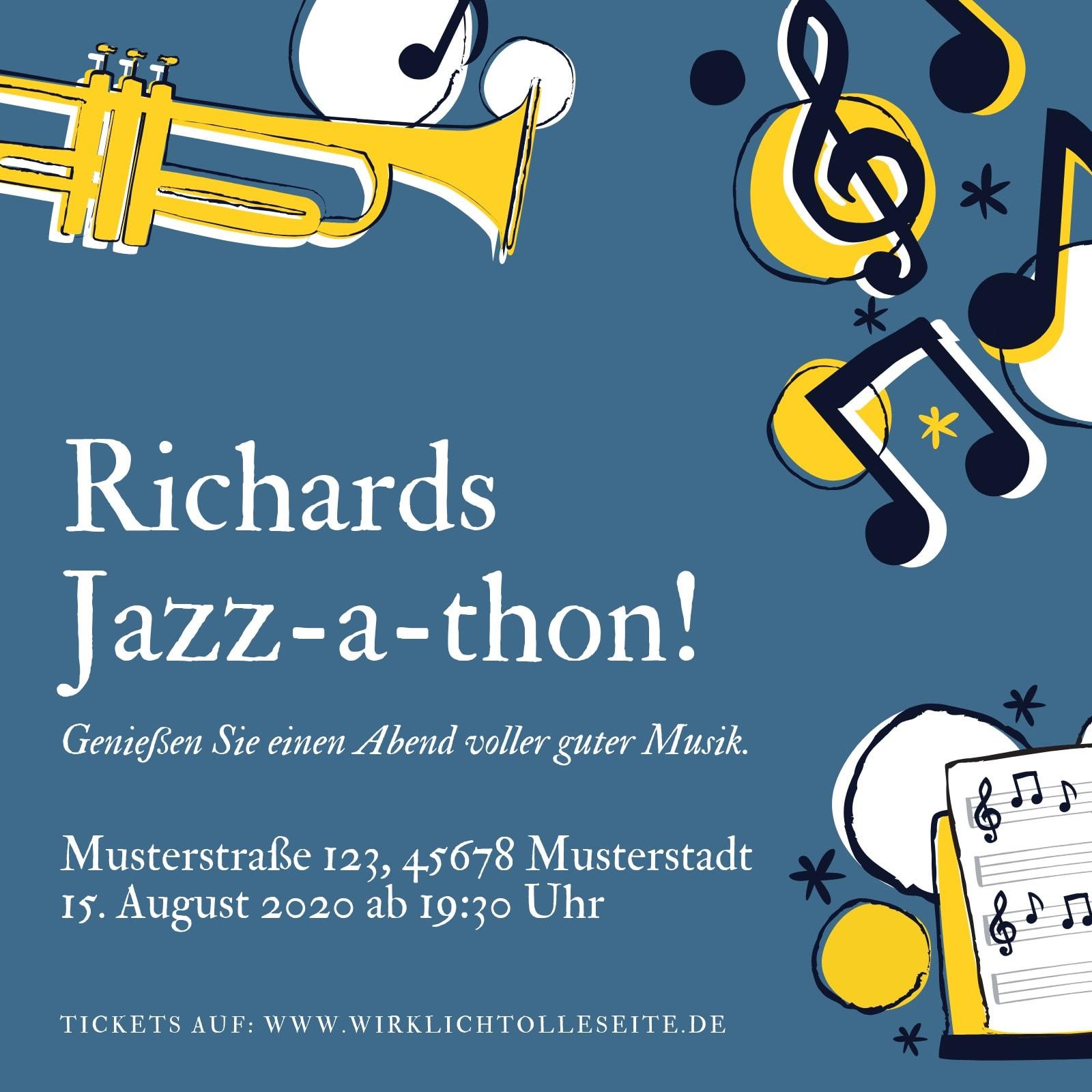 Blau und Gelb Jazz 1920er Party Einladung