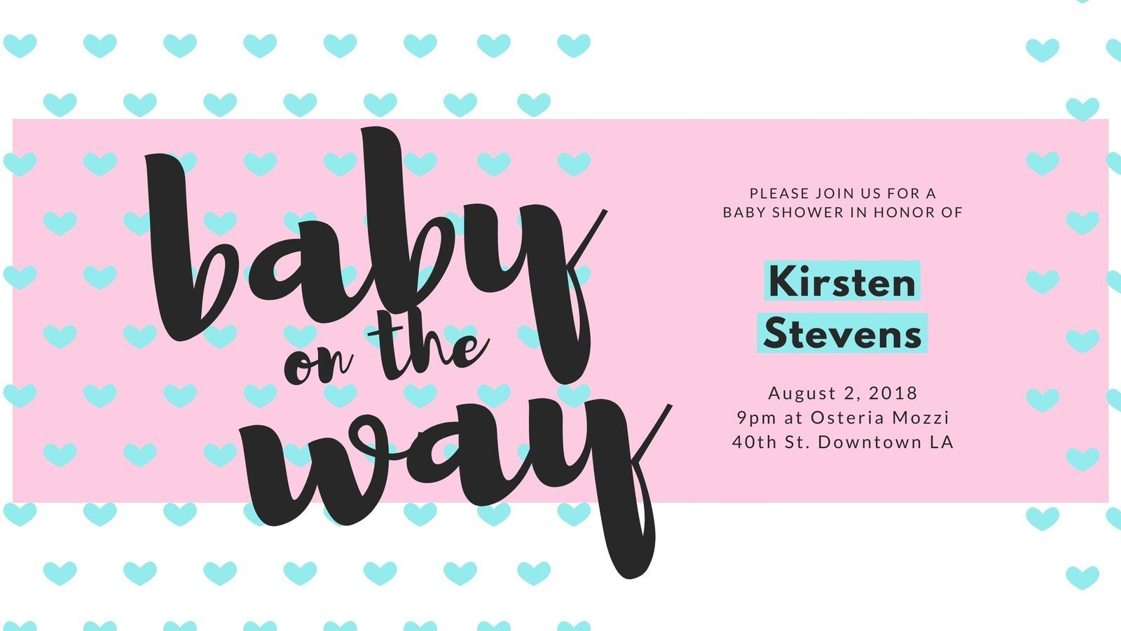 Baby Pink Shower Hearts Facebook Cover