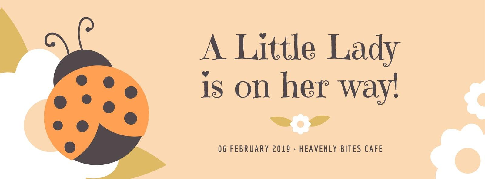 Orange Ladybug Baby Shower Facebook Cover