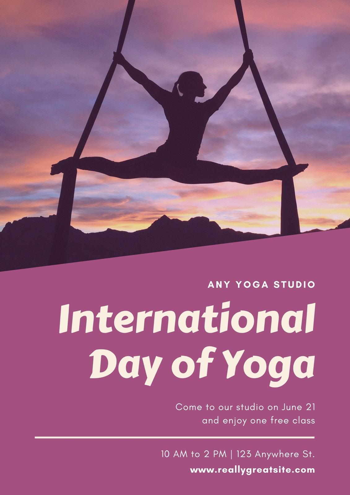 Purple Photo International Day of Yoga Poster