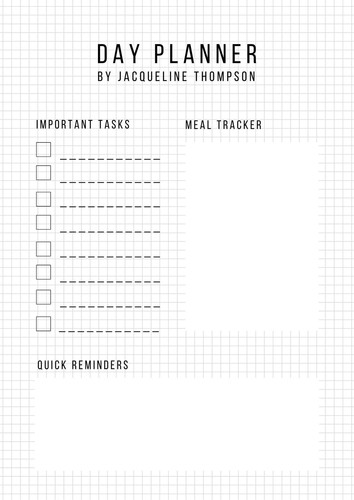 Minimalist Grid General Daily Planner