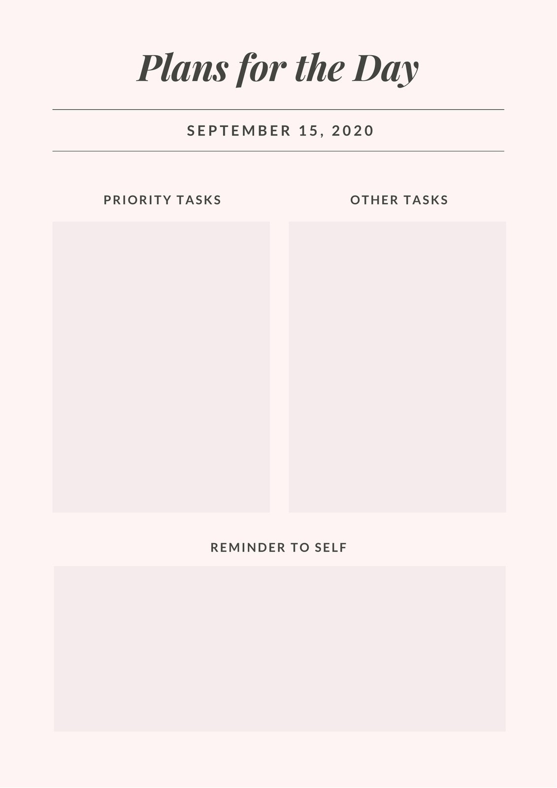 Pink Simple General Daily Planner