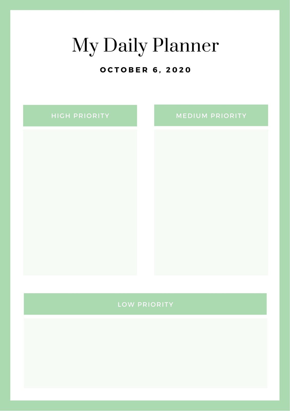 Green Boxed Templates General Daily Planner
