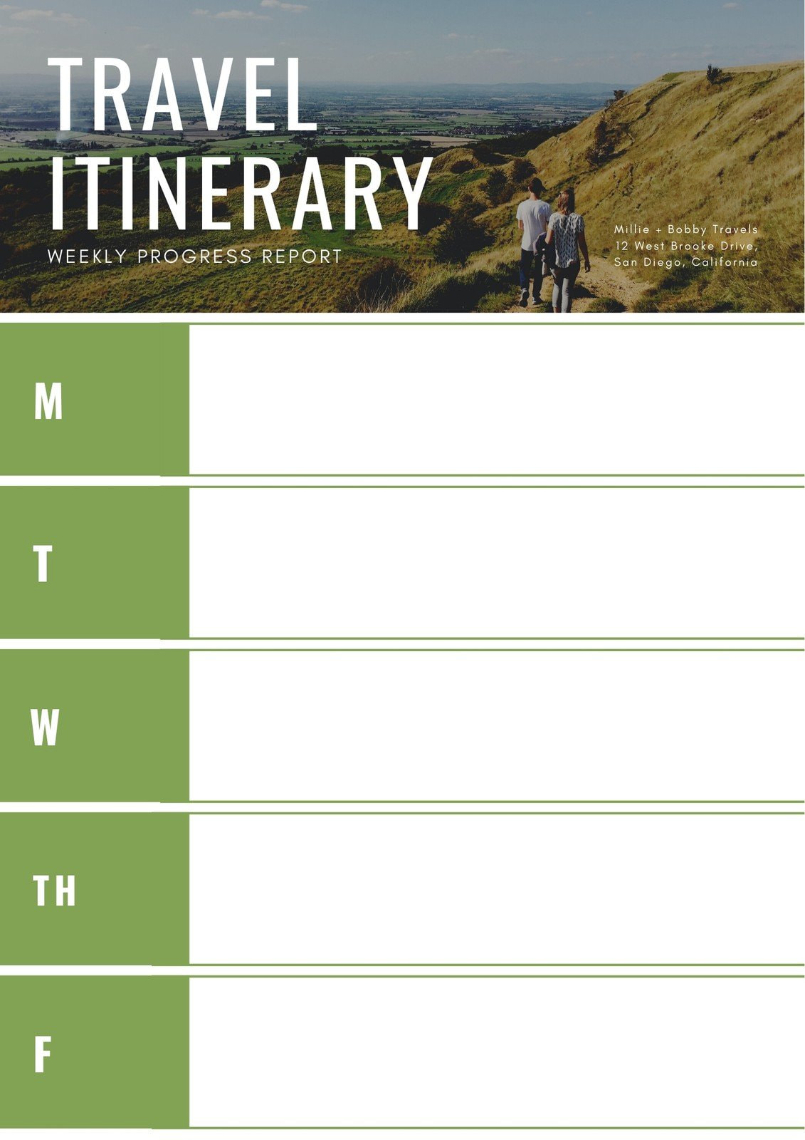 Green Photo Travel Itinerary Planner