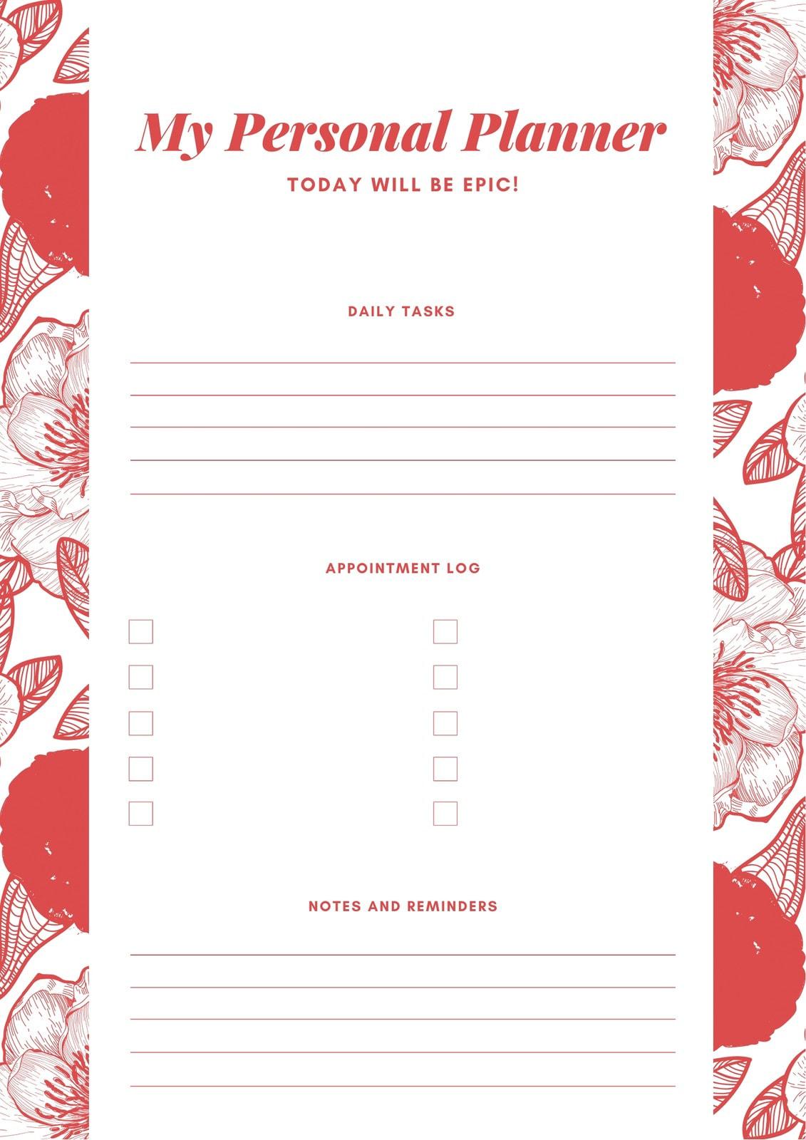 Pink Floral Elegant Personal Planner