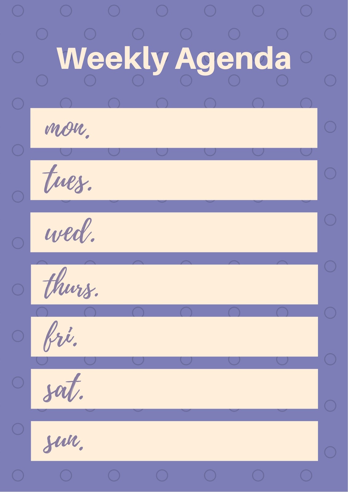 Pink and Violet Polka Dotted General Weekly Schedule