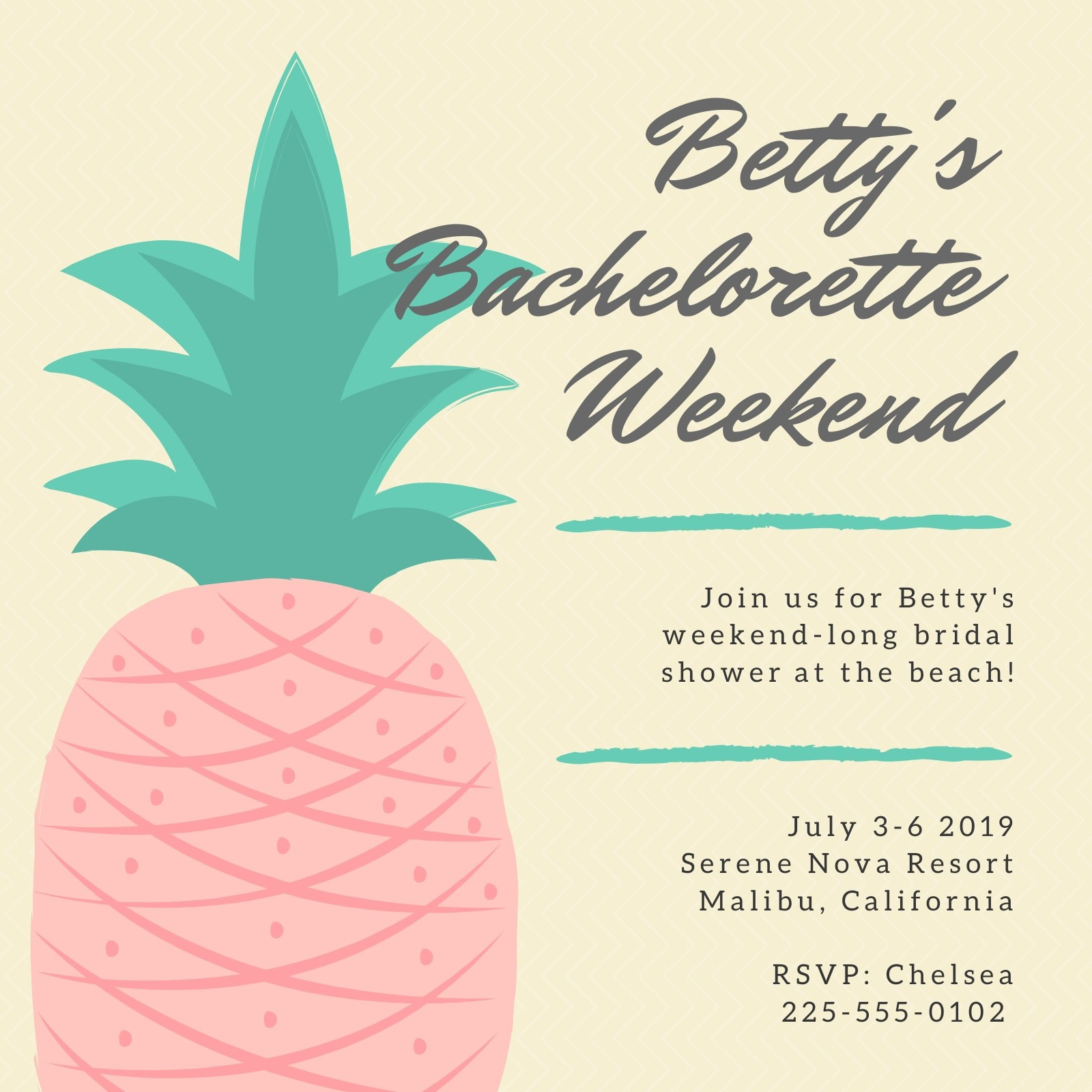 Pineapple Themed Bridal Shower Invitation
