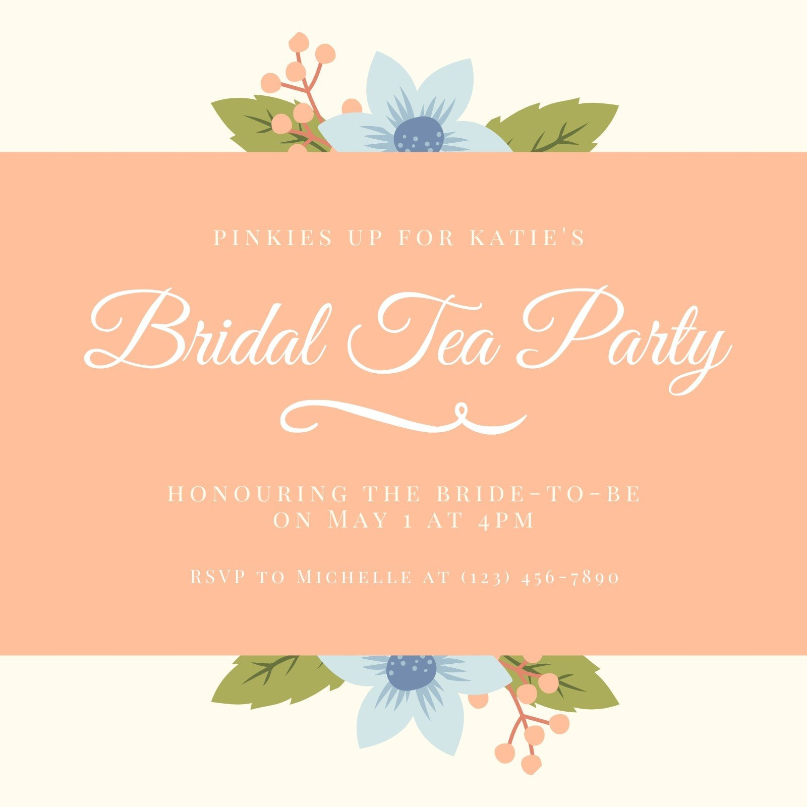 Peach Beige Floral Bridal Tea Invitation