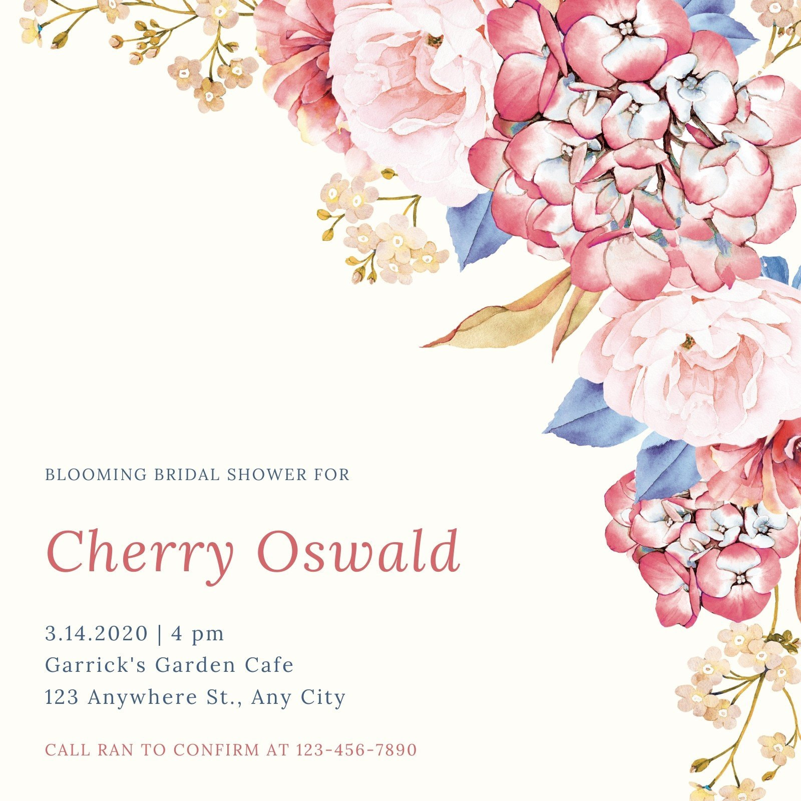 Cream and Pink Floral Bridal Shower Invitation