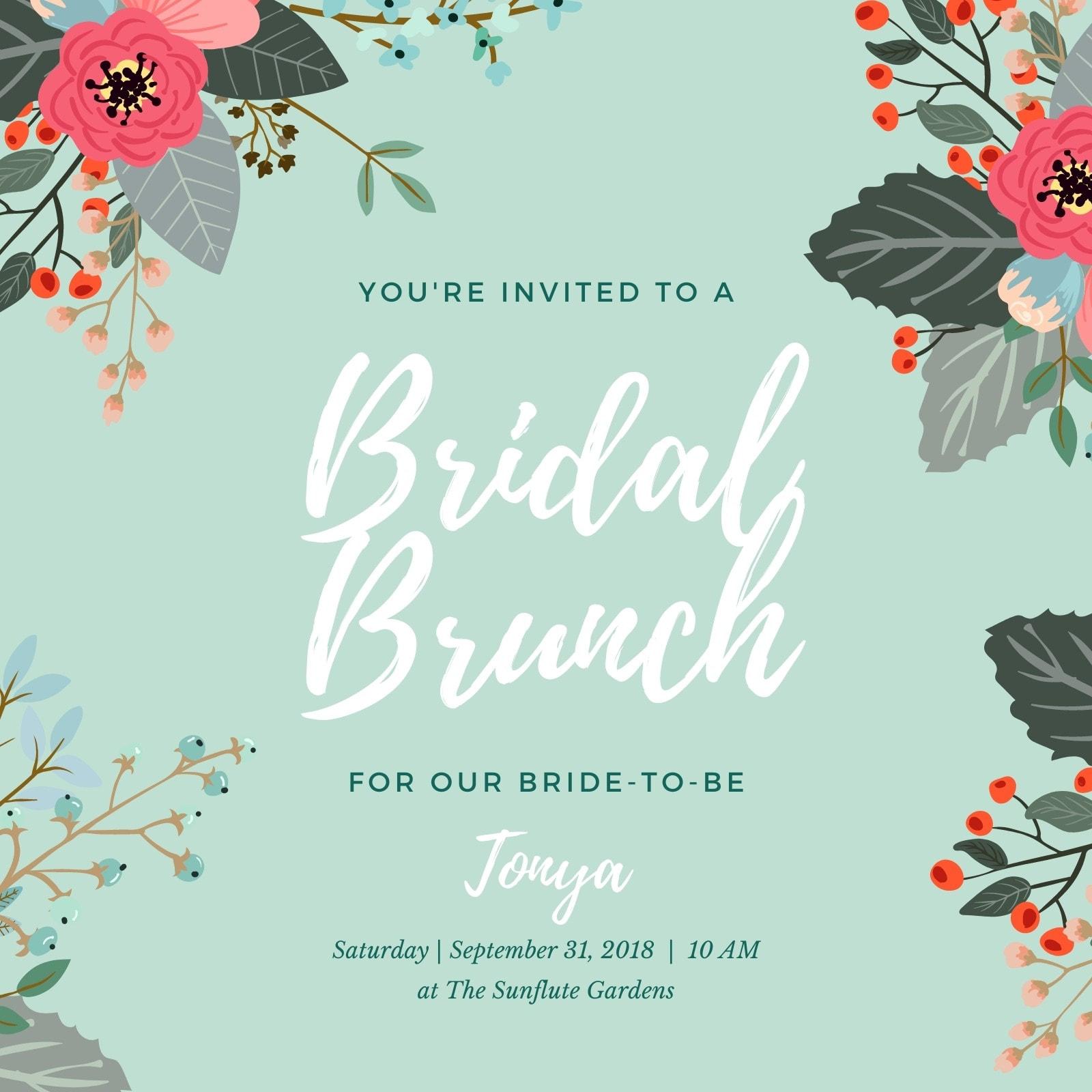 Mint Green Floral Bridal Shower Invitation