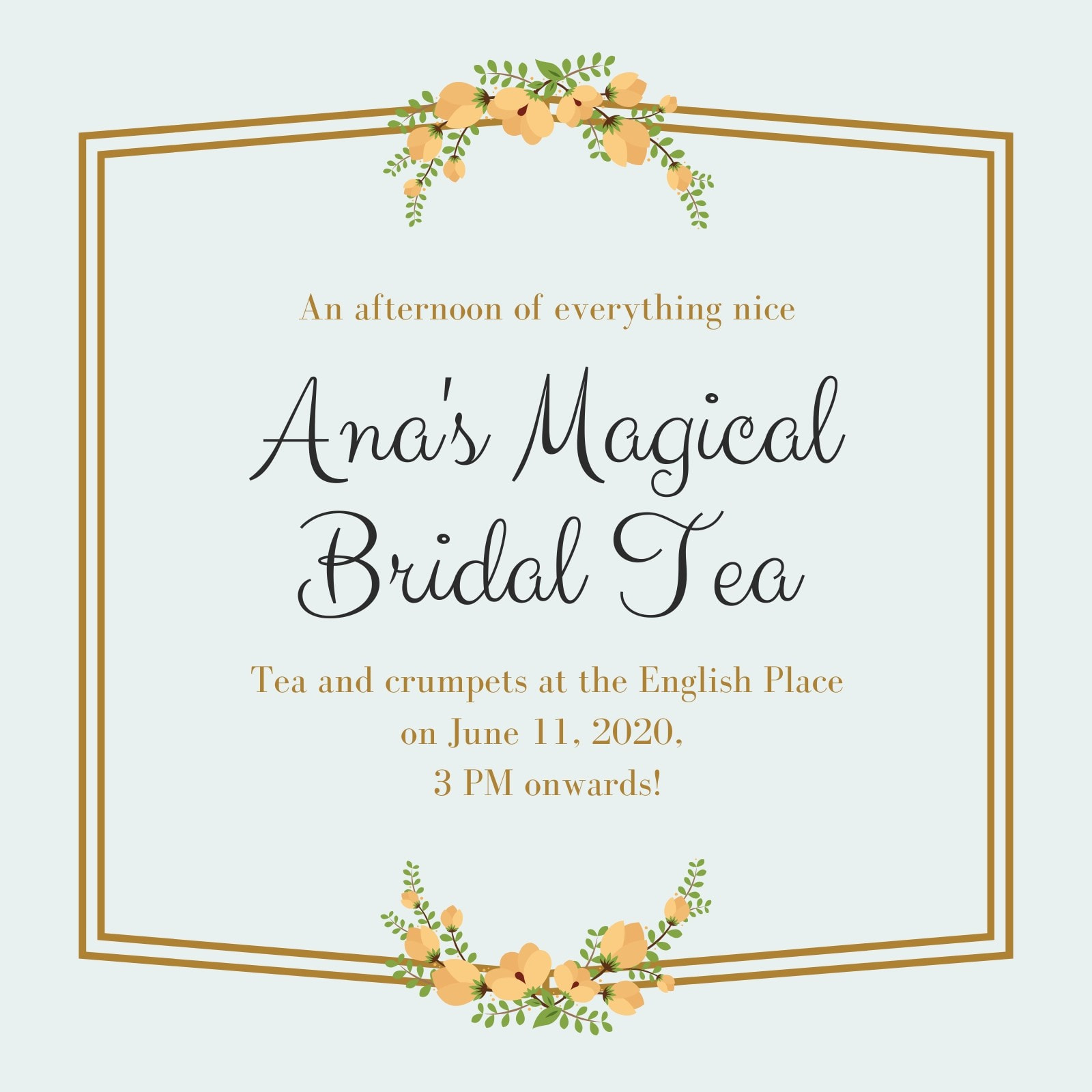 Gold and Green Floral Bordered Bridal Tea Invitation