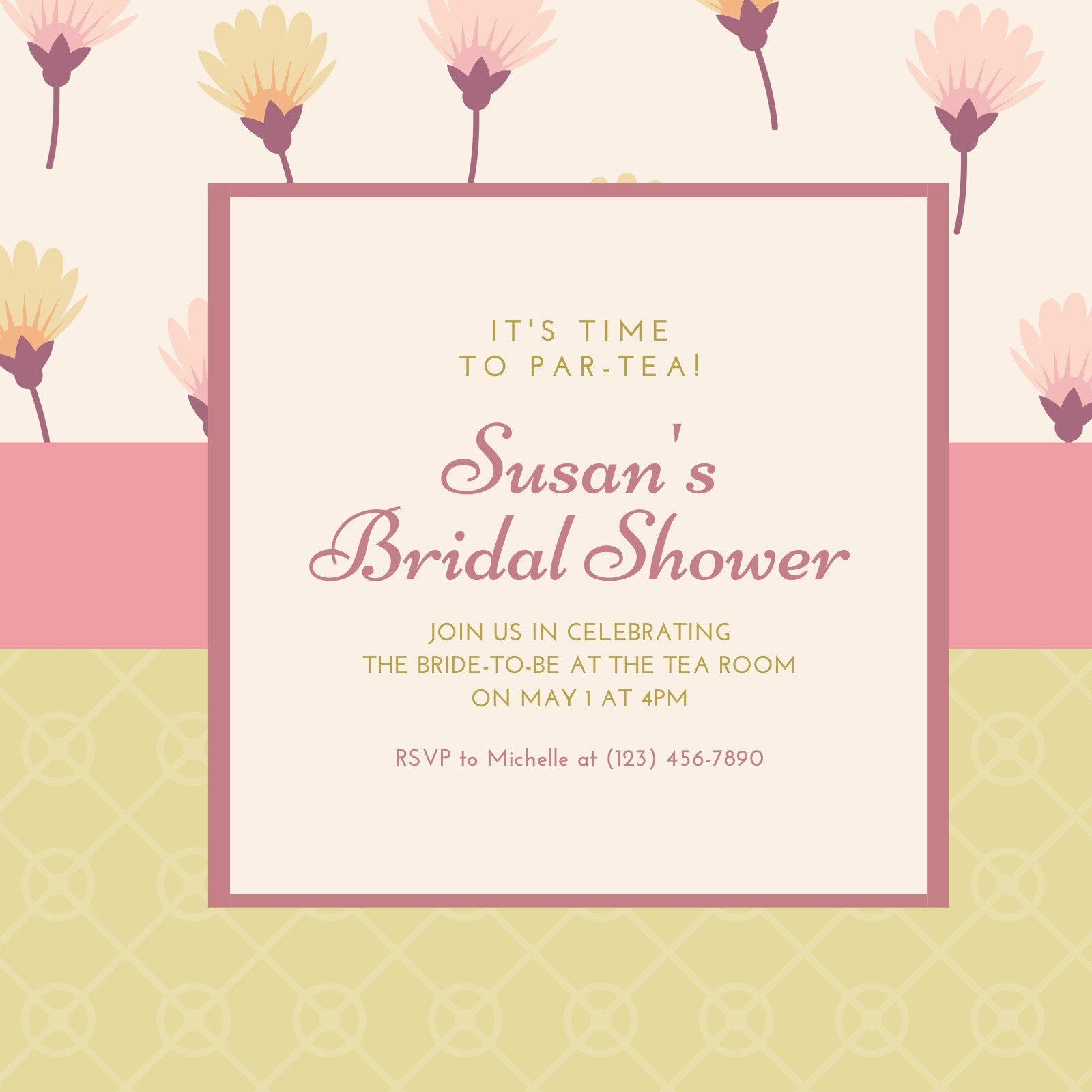 Pink Bridal Tea Brunch Invitation