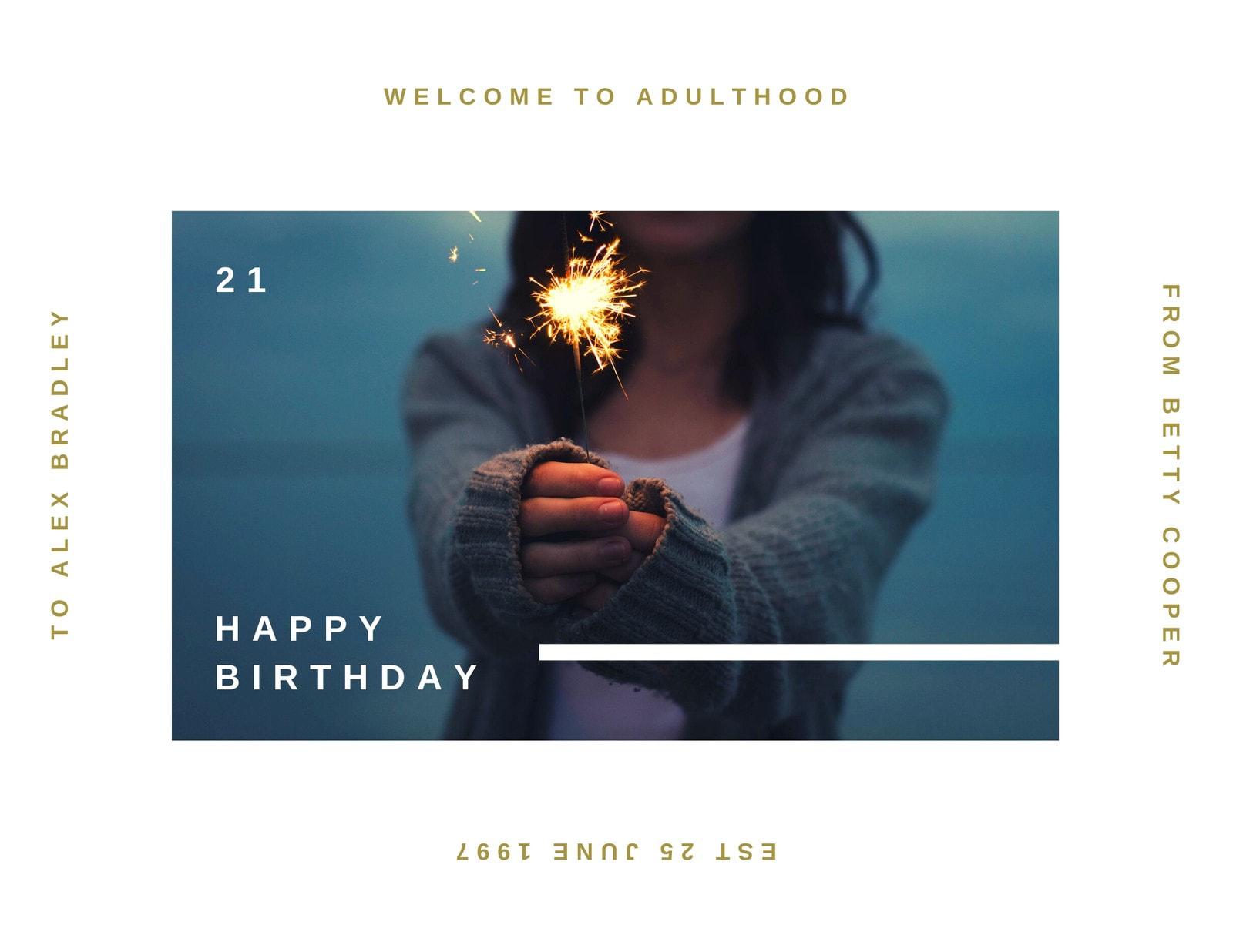 White Gold Minimalist 21st Birthday Card