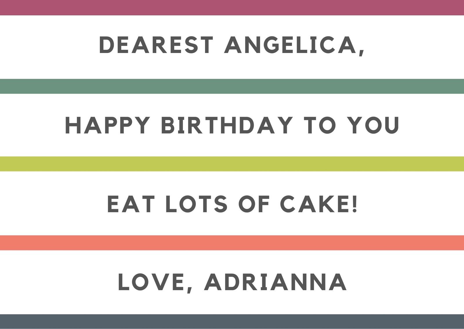 Colorful Stripes Birthday Card