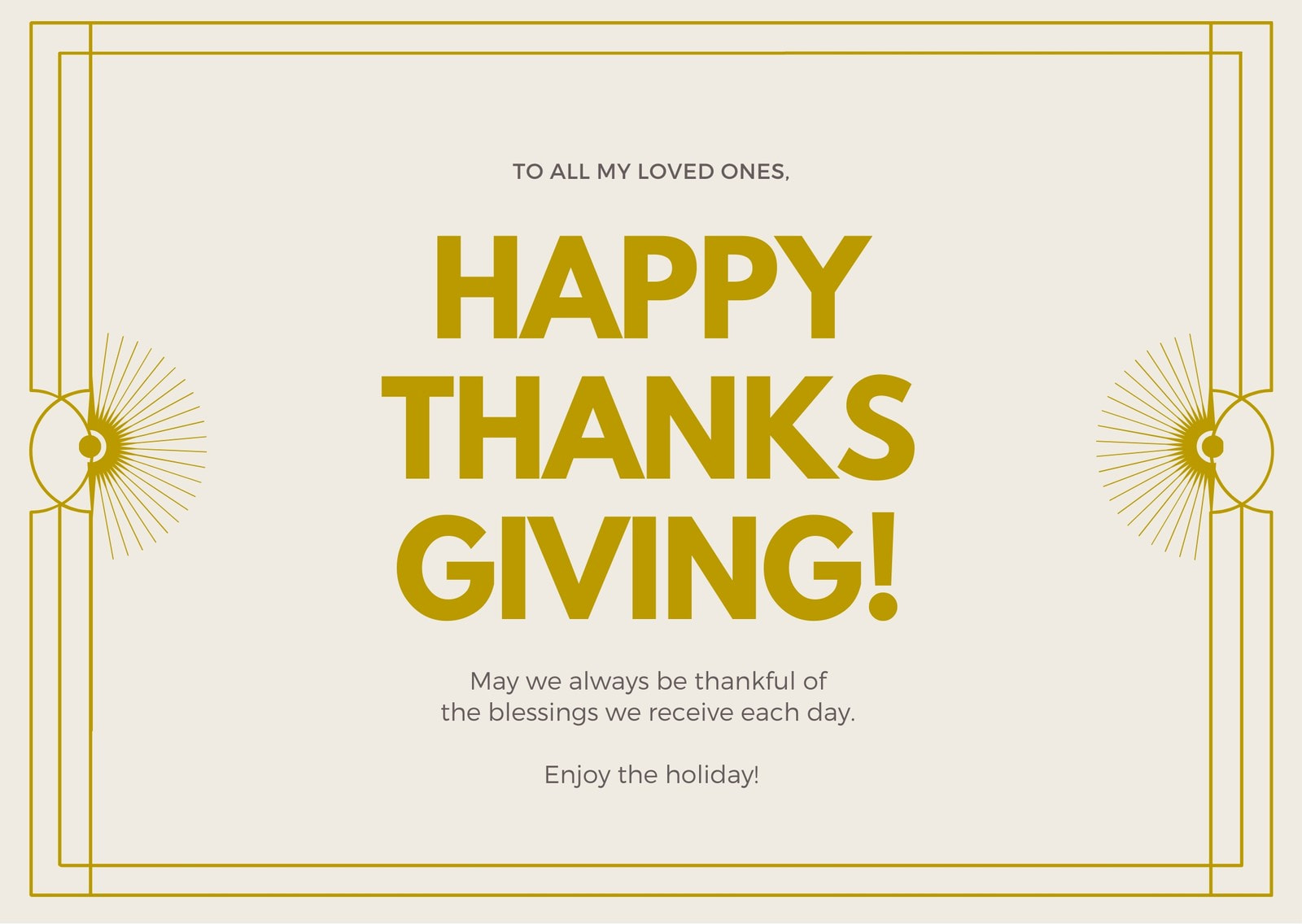 Yellow Gold Bordered Greeting Thanksgiving Card