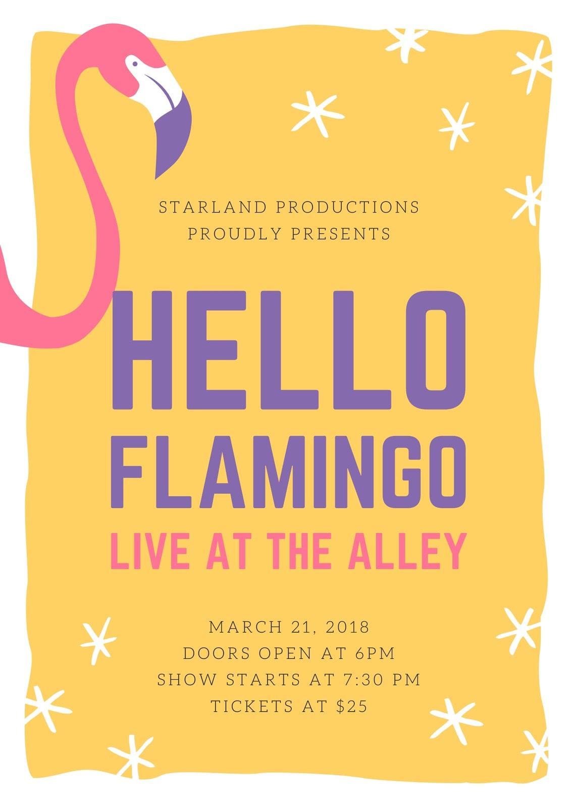 Vibrant Flamingo Concert Flyer