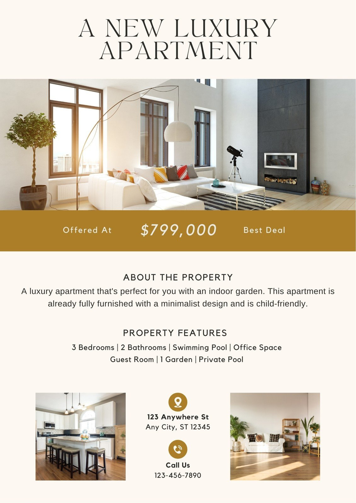 Beige and Tan Elegant Luxury Apartment For Sale Real Estate Flyer