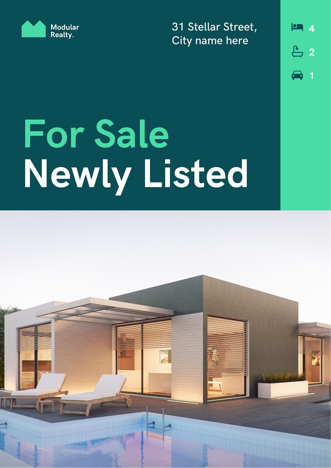 Green Modular Realty For Sale Newly Listed Real Estate Flyer