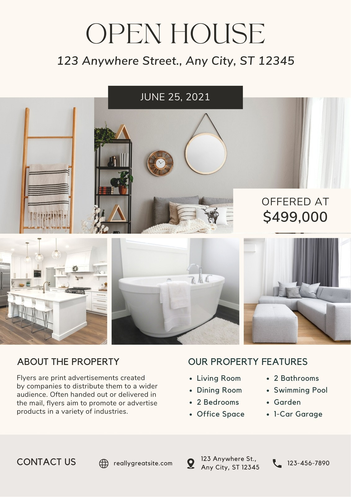 Clean Modern Cream Brown Open House Real Estate Flyer