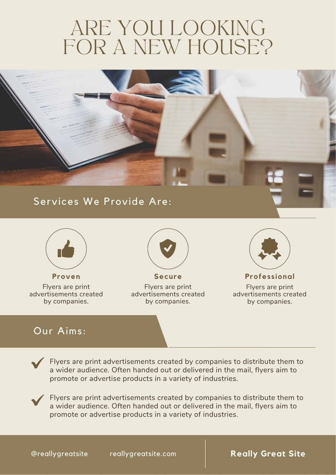 Brown Minimalist Looking For A New House To Buy Real Estate Flyer