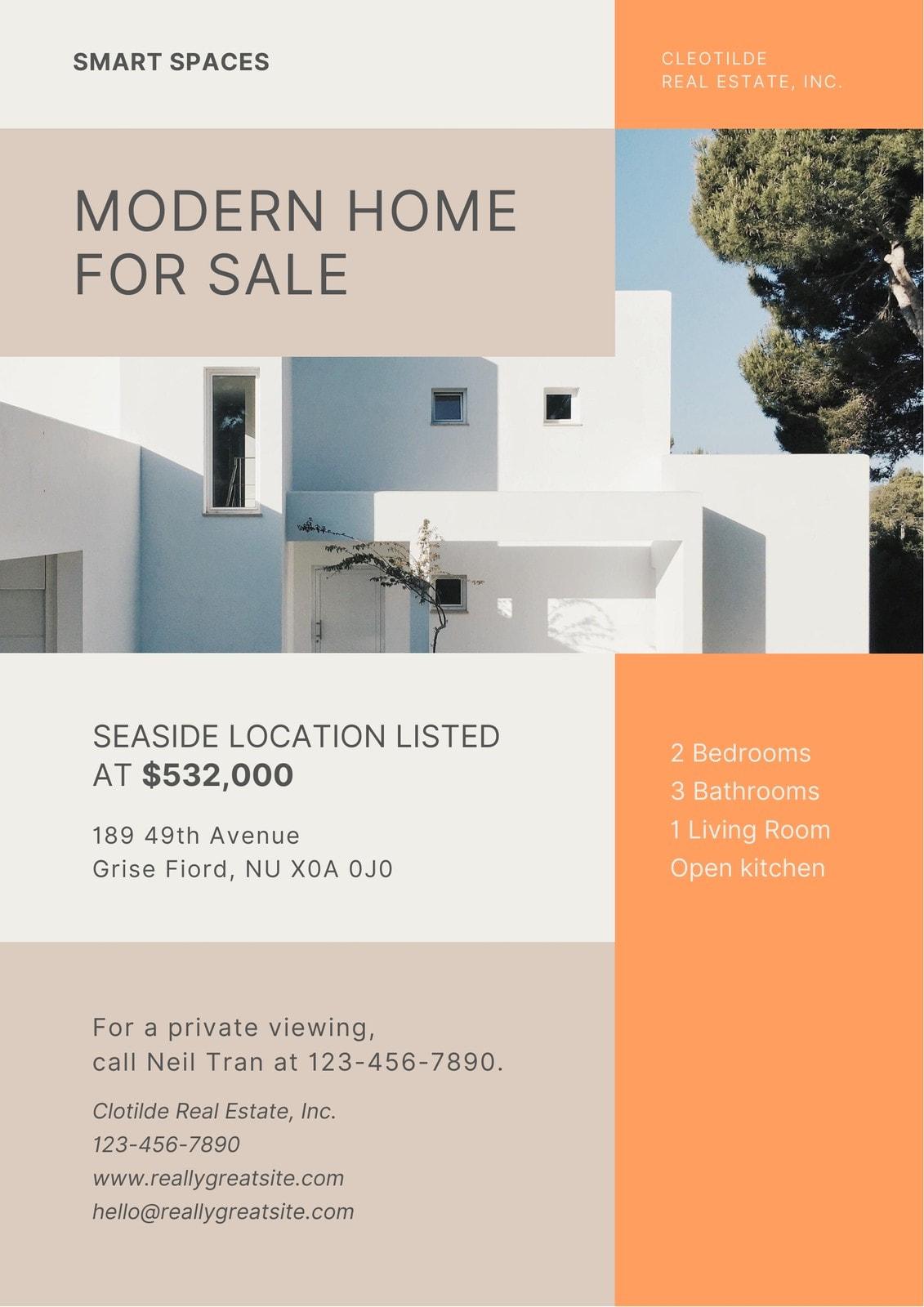 Orange and Khaki Modern Real Estate Business Flyer