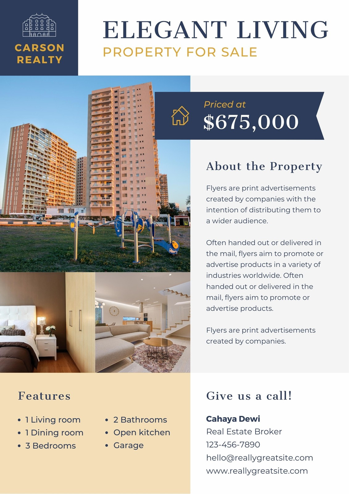 Blue and Gold Real Estate Business Flyer