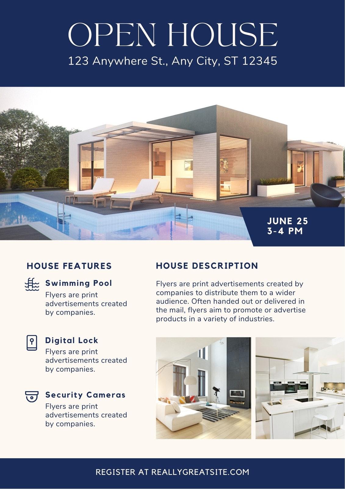Navy Blue Minimalist Modern Open House Real Estate Flyer