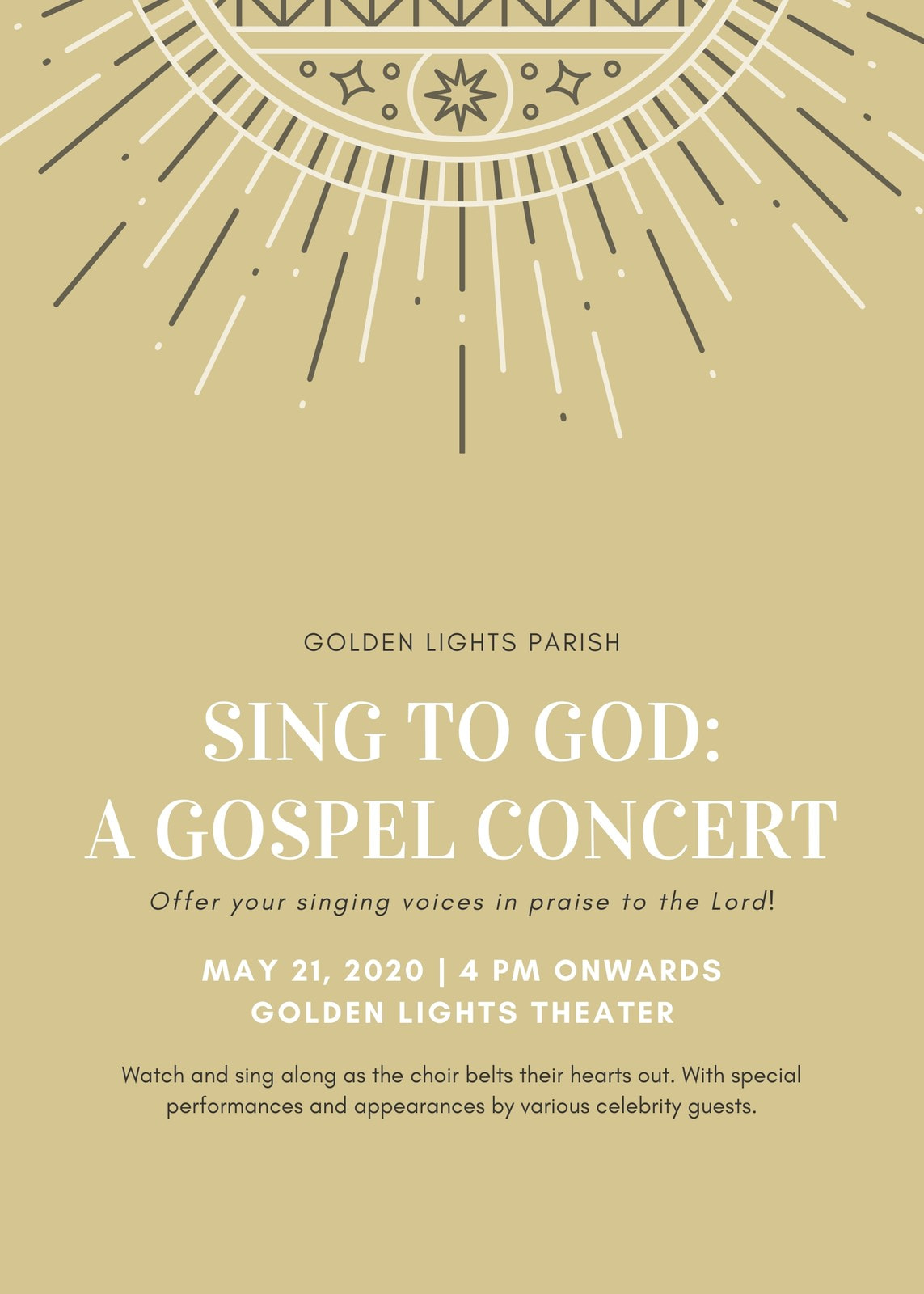 Gold with White Ornament Gospel Concert Church Flyer