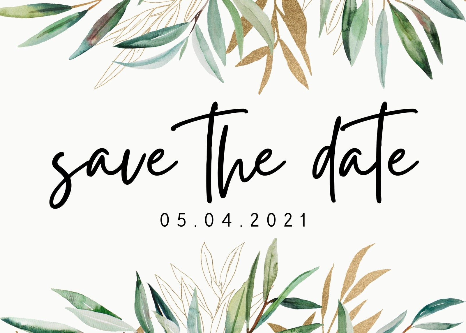 Save the Date Card with Gold and Green Watercolor Olive Branch