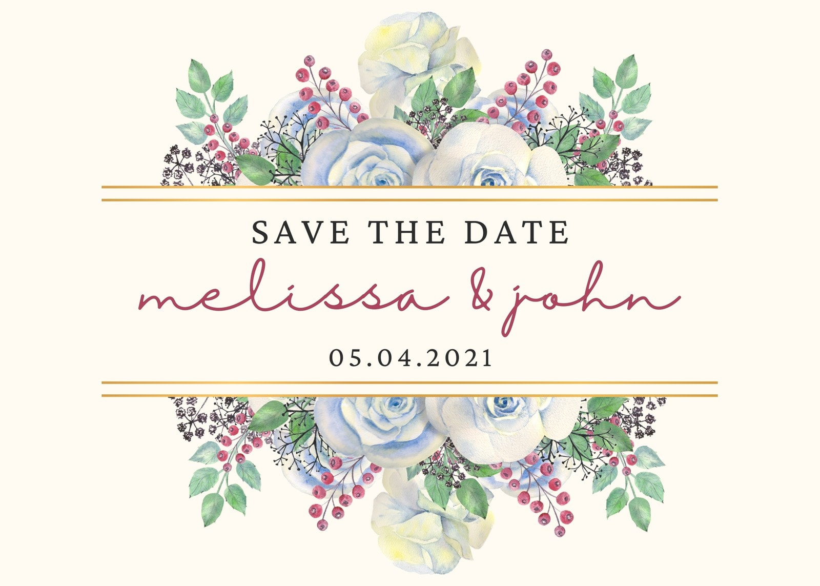 Beige with Gold Frame with Watercolor Flower Save the Date Printable Card