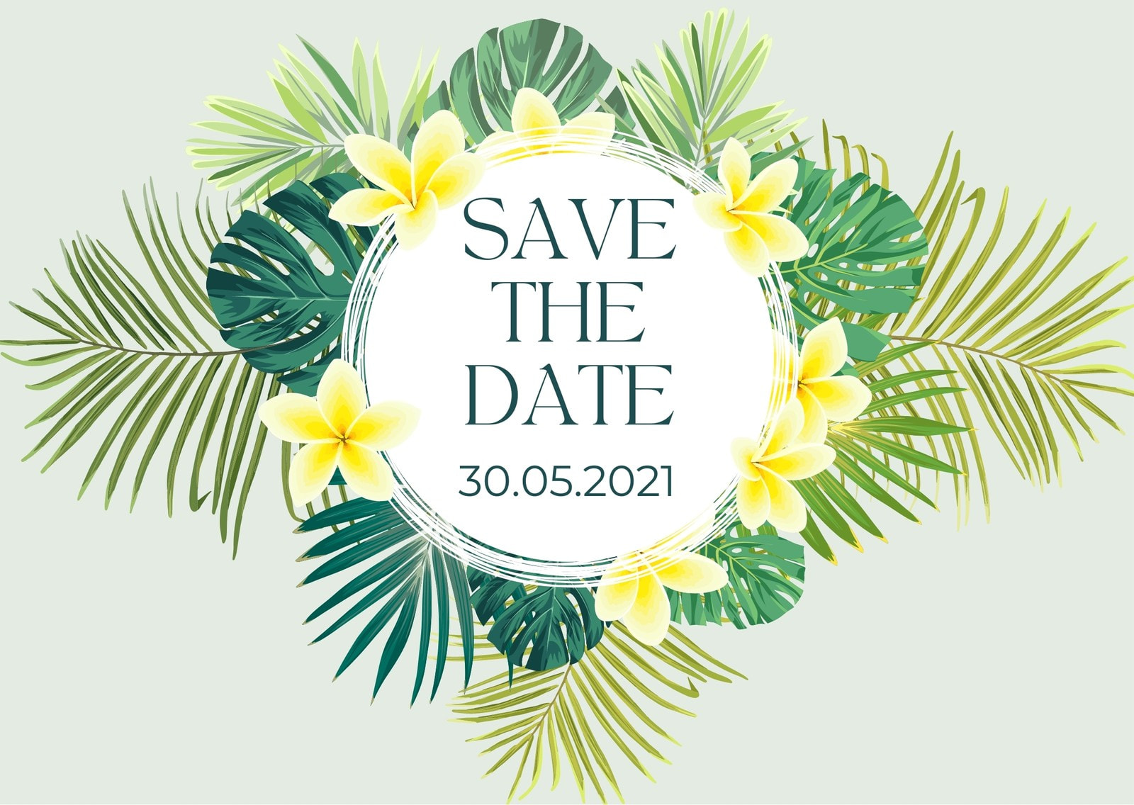 Green and Yellow  Save the Date Printable Card with Tropical Leaves and Exotic Flower Frame