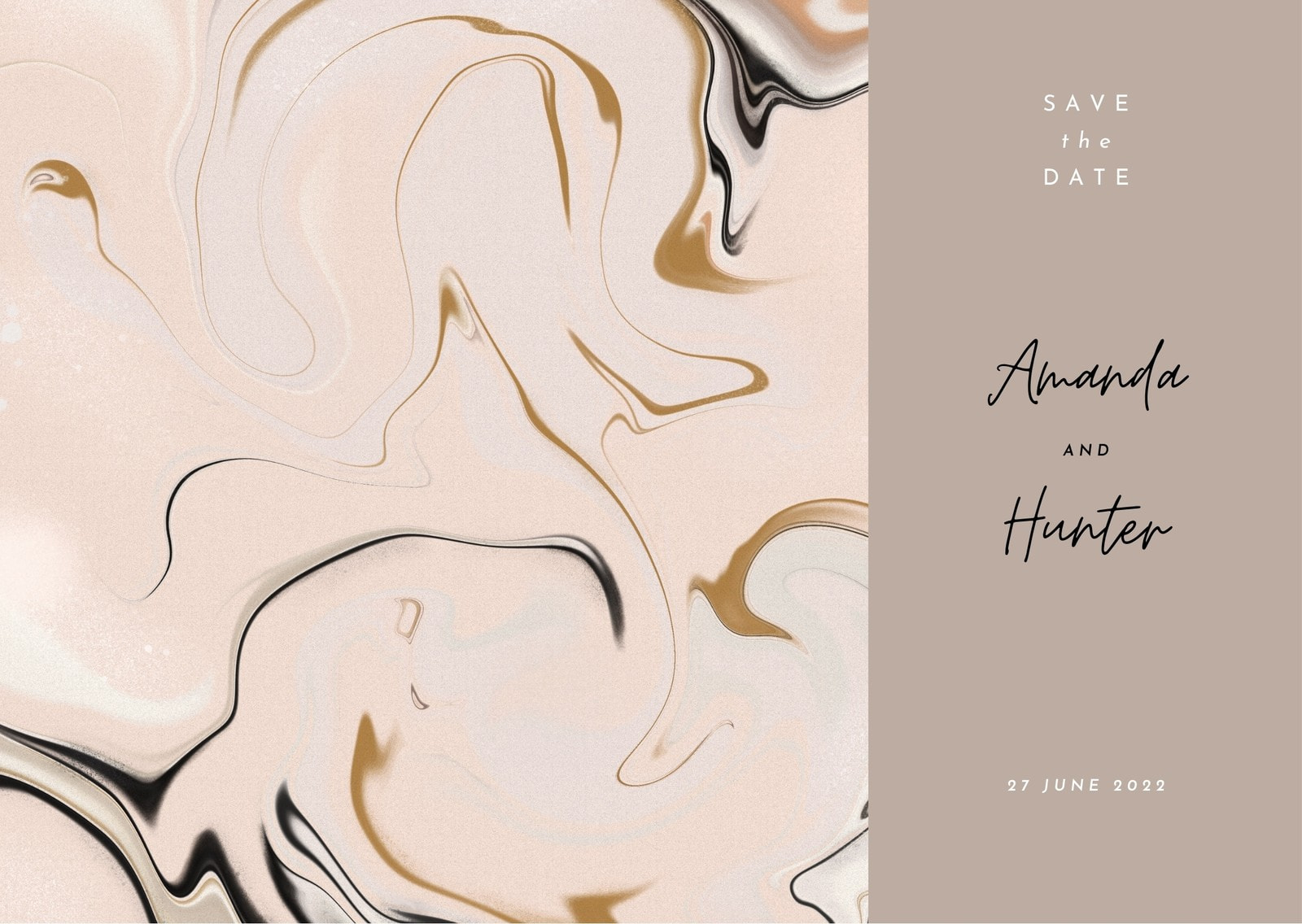 Save the Date Card Template with Modern Abstract Marbling Art