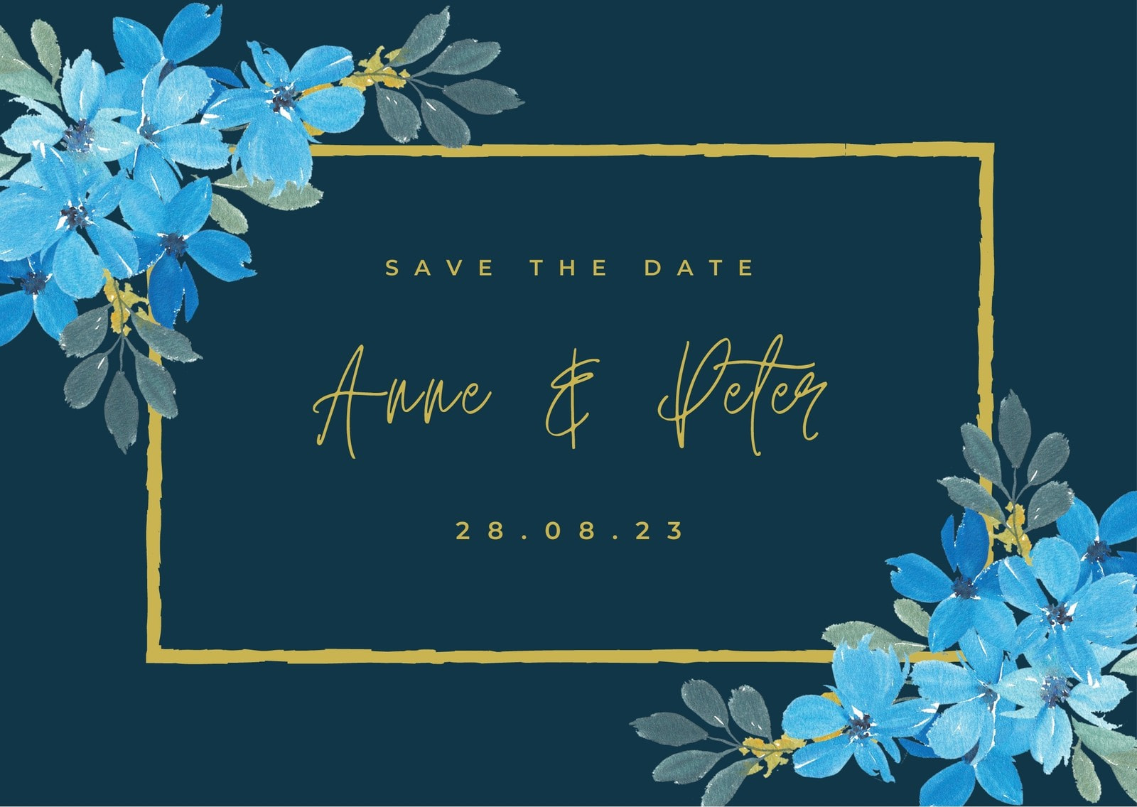 Blue Gold Save the Date Card