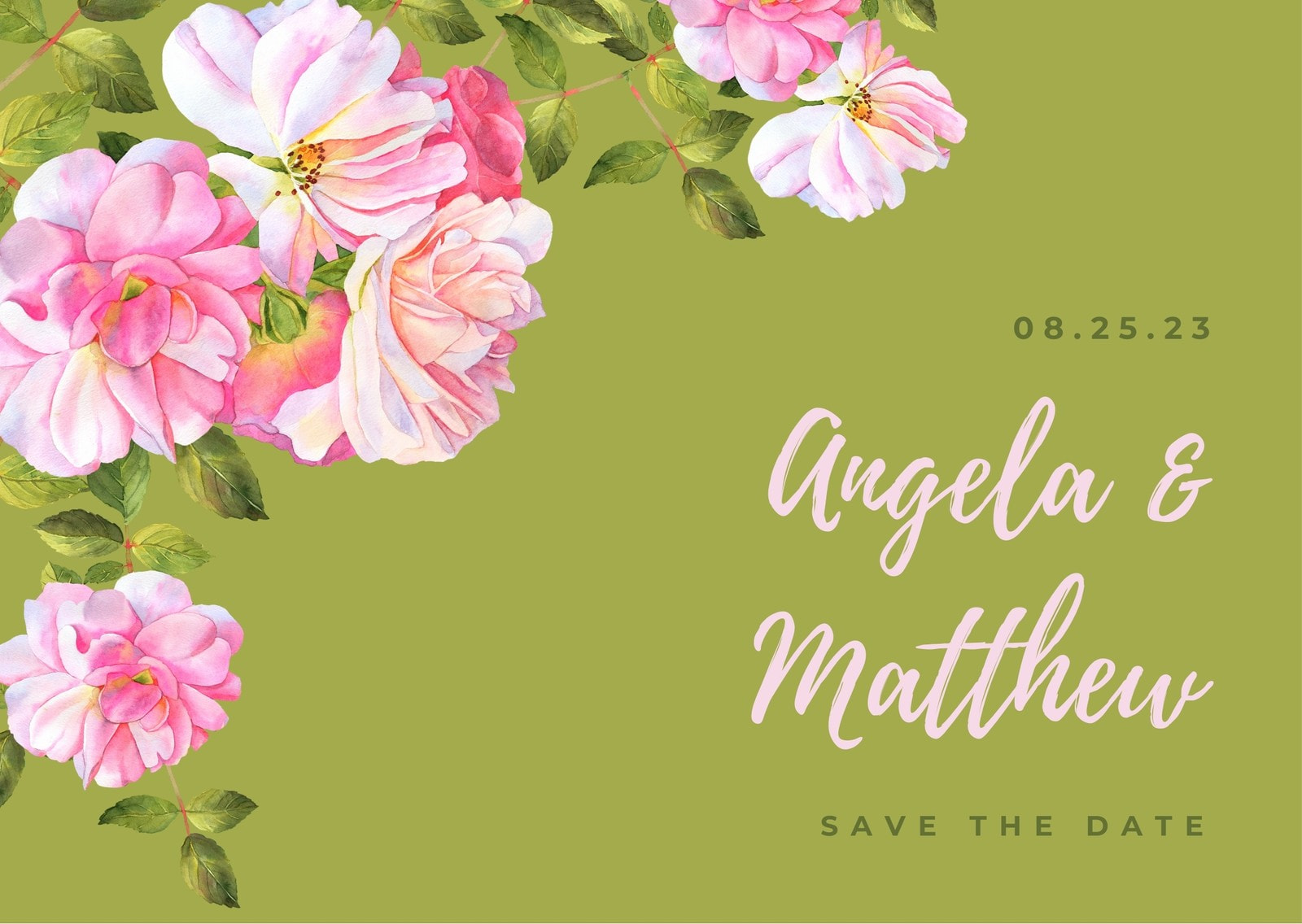 Green Save the Date Roses Card
