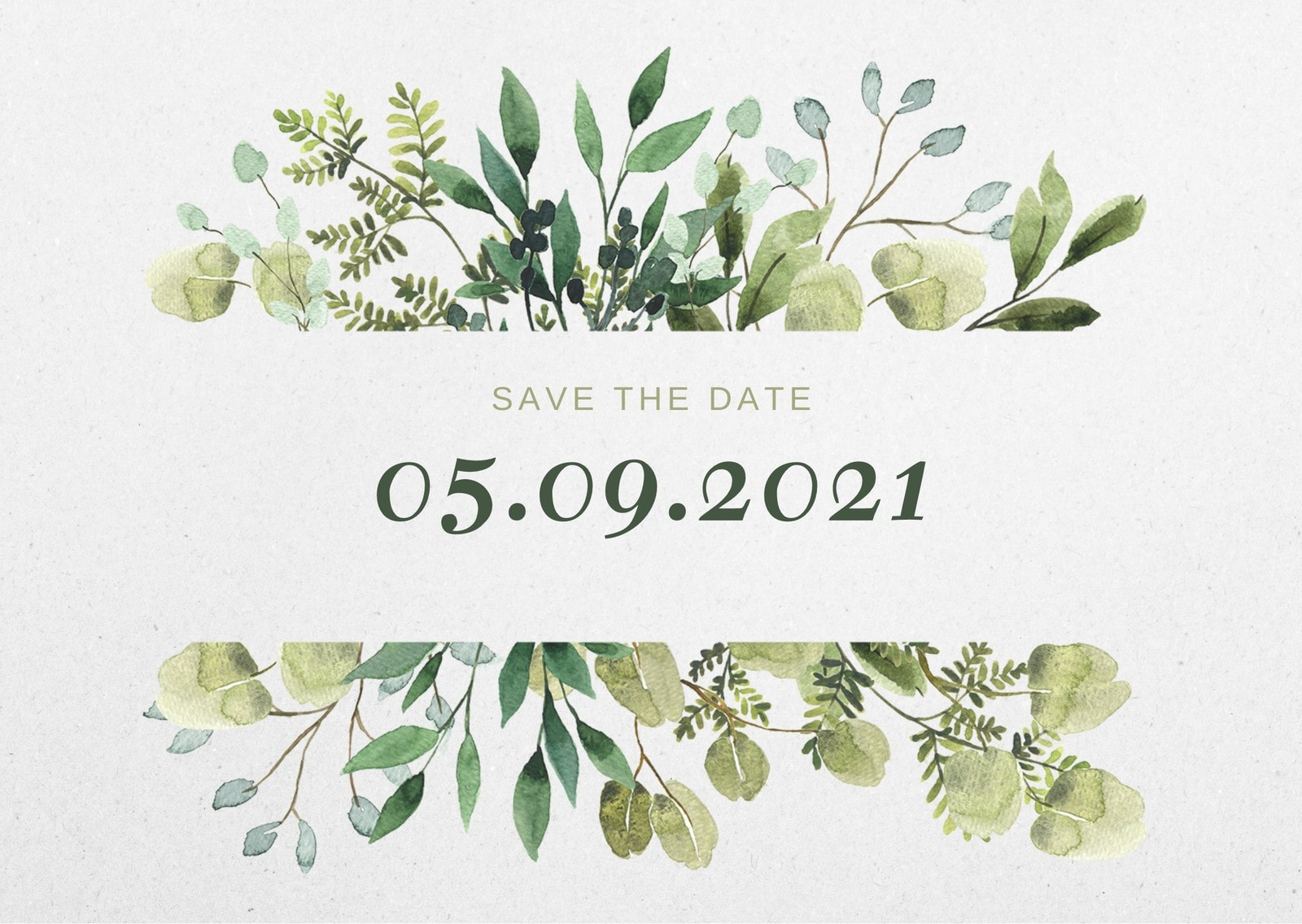 Watercolor Greenery Save The Date Card