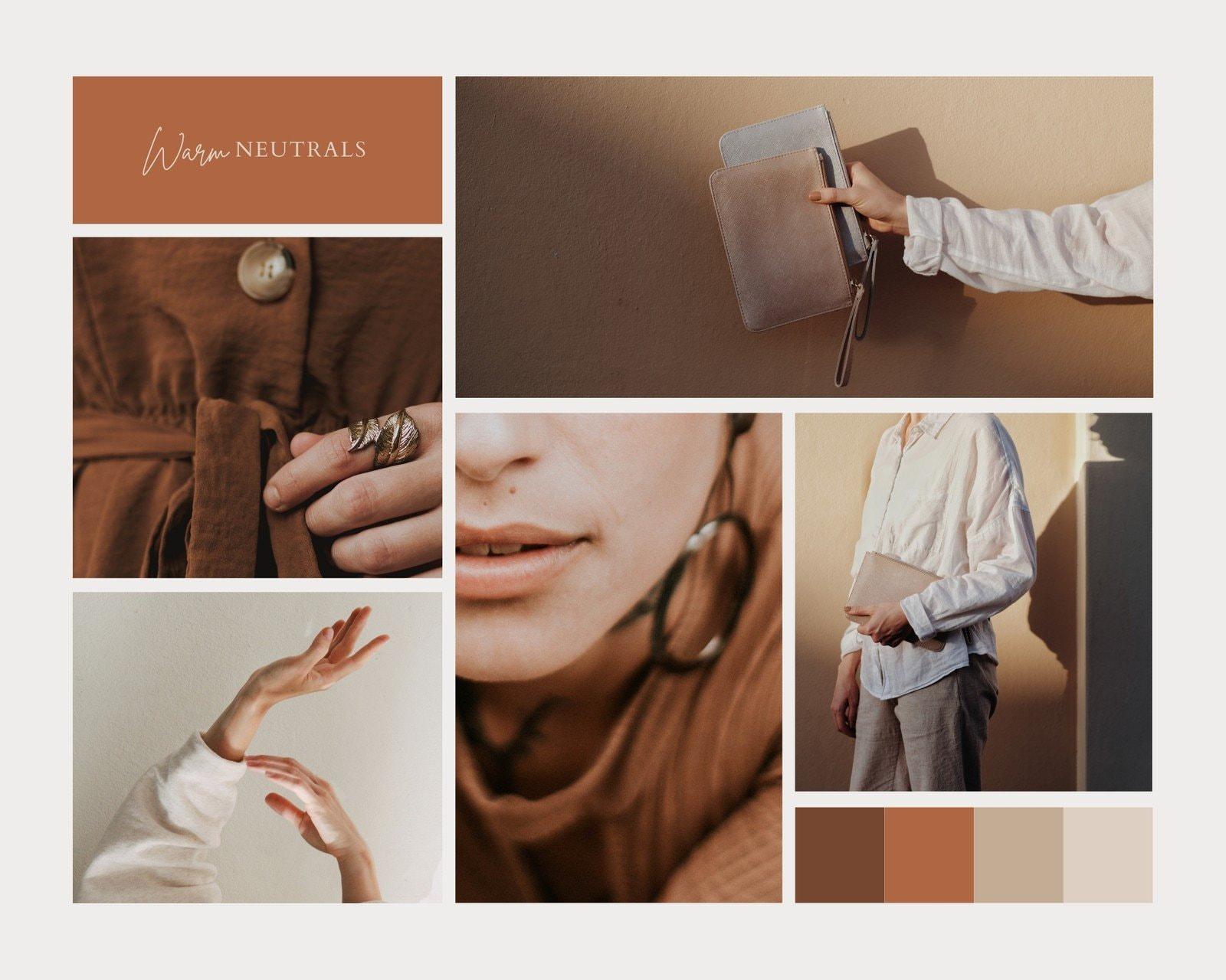 Brown Clean Grid Fashion Moodboard Photo Collage