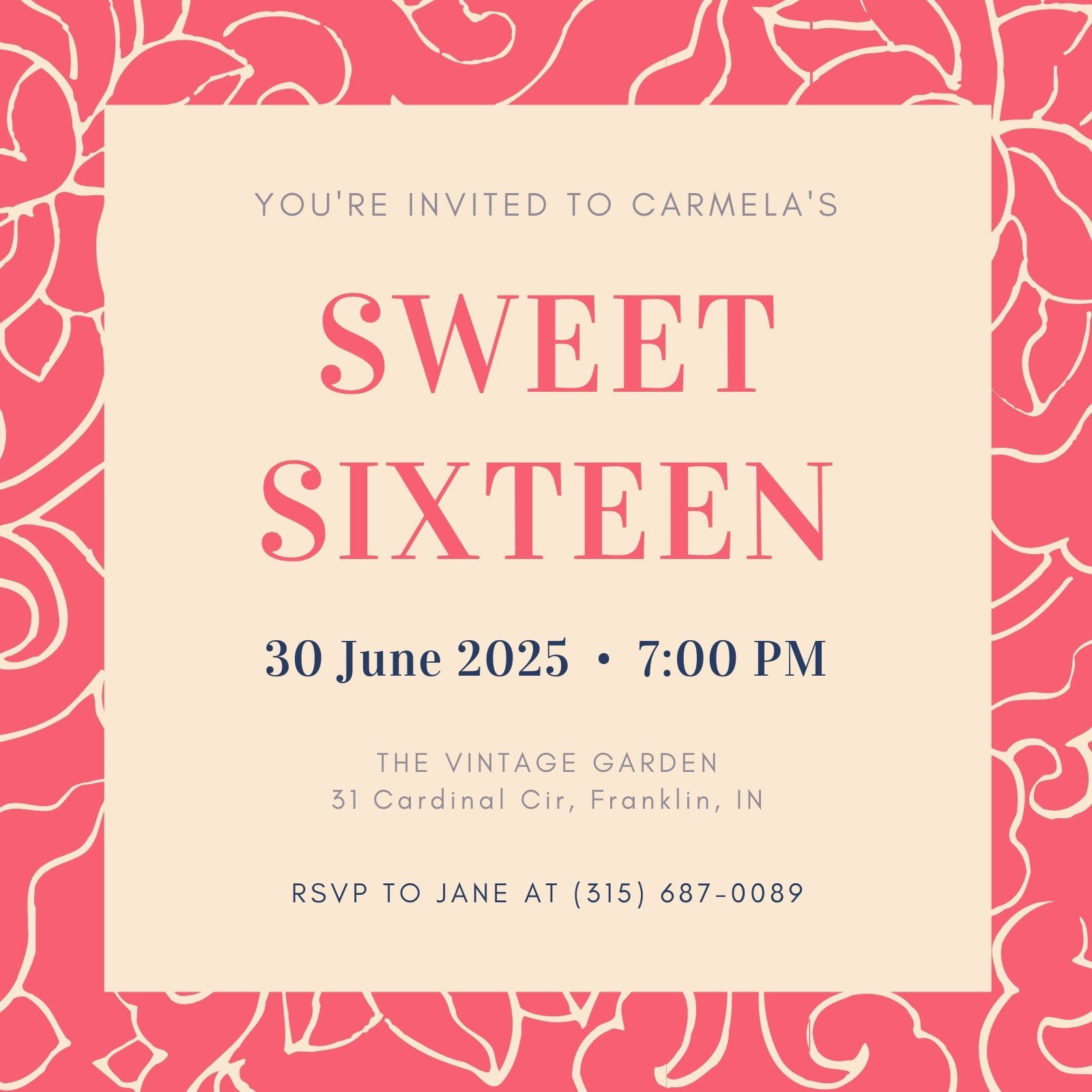 Pink Floral Border Sweet 16 Invitation
