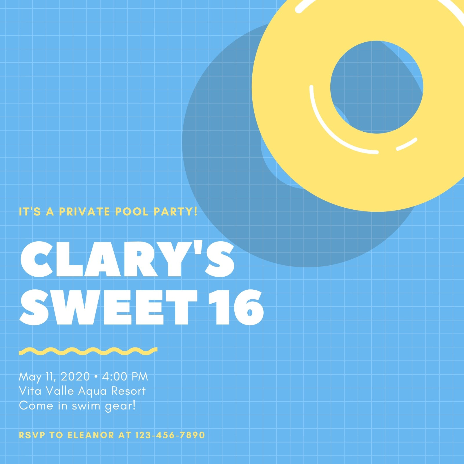 Blue and Yellow Pool Sweet 16 Invitation