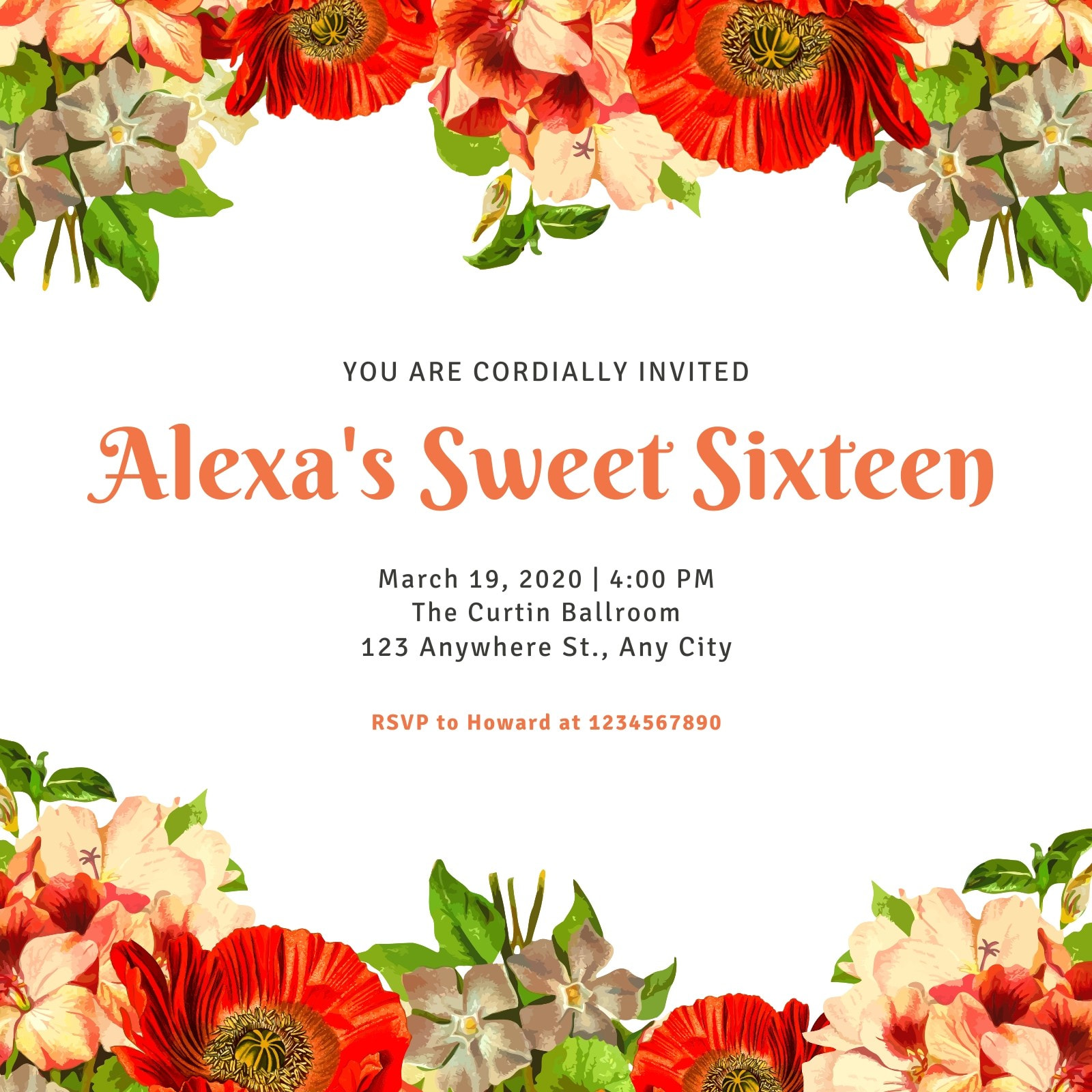 Floral Border White Sweet 16 Invitation