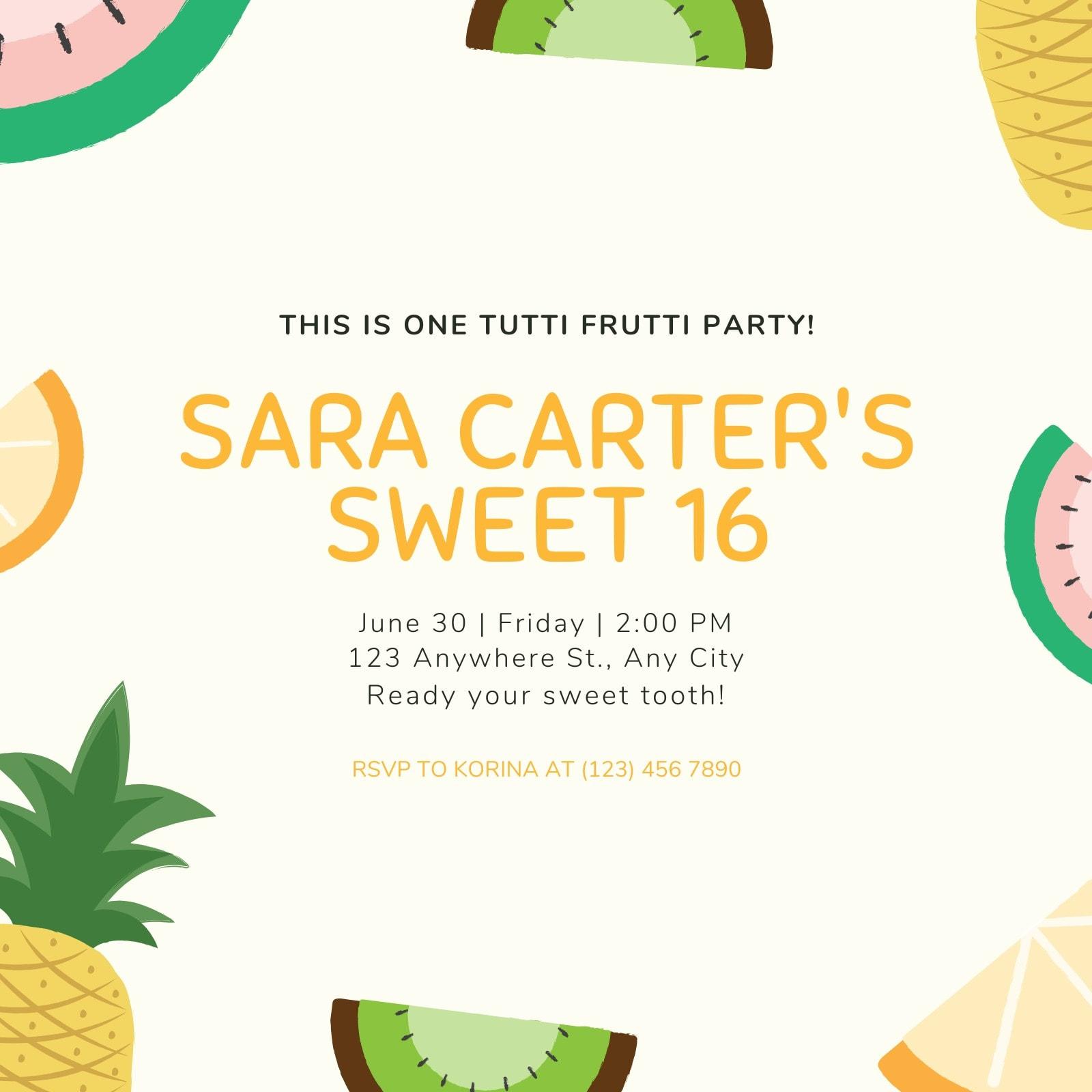 Fruity Sweet 16 Birthday Invitation