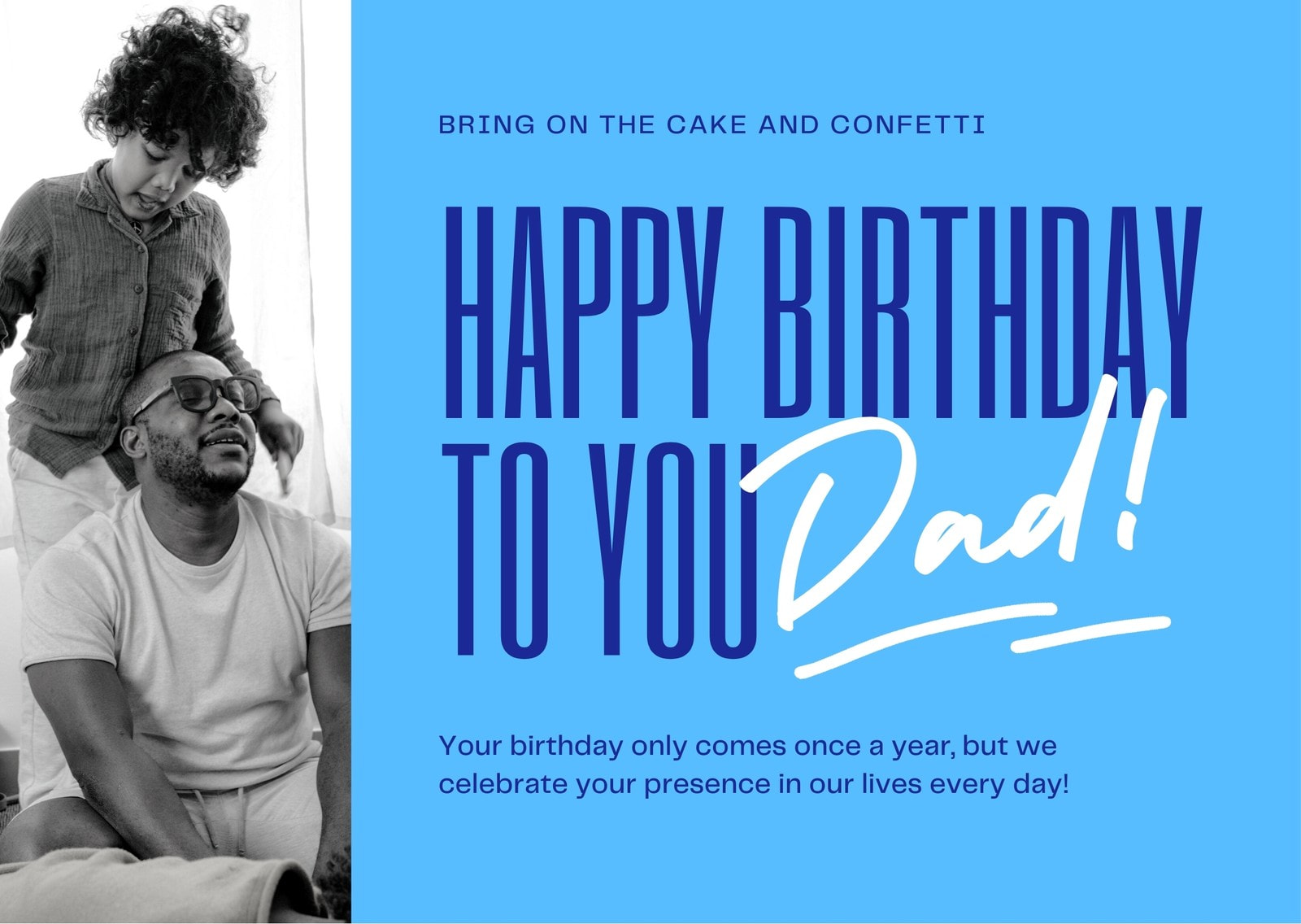 Blue Grayscale Photo Scribbles Dad's Birthday E-card